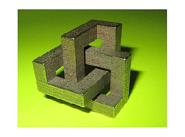 3D Architectural Delight (pocket size) in Polished Bronzed Silver Steel