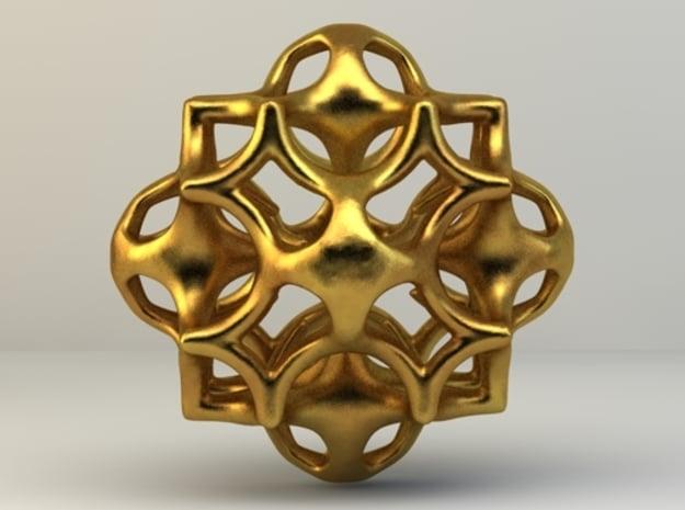 Fractamonium Cube A in Polished Nickel Steel