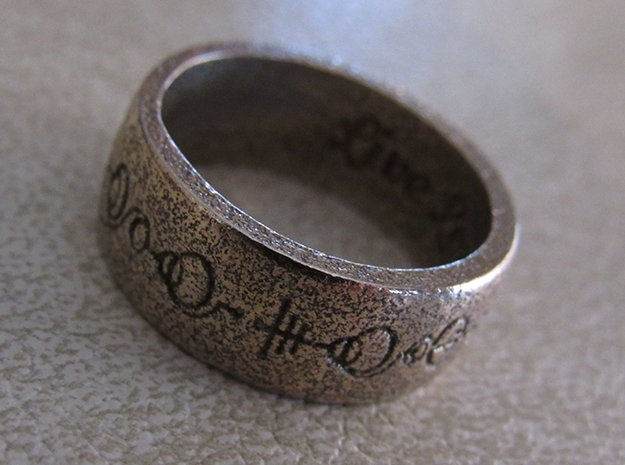 """""""Live Long & Prosper"""" Ring - Engraved Style in Polished Bronzed Silver Steel: 8 / 56.75"""