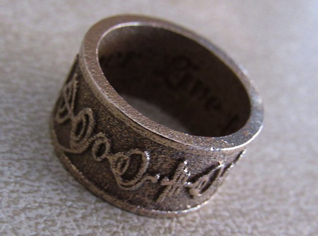 """""""Live Long & Prosper"""" Ring - Embossed Style in Polished Bronzed Silver Steel: 5 / 49"""