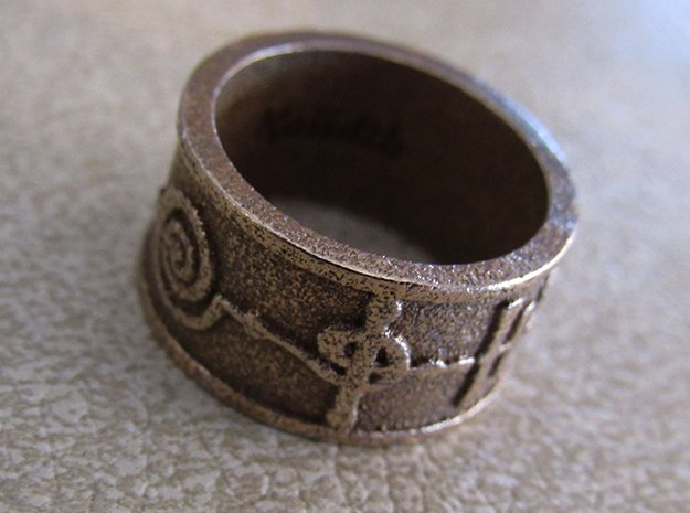 """""""Kaiidth"""" Vulcan Script Ring - Embossed Style in Polished Bronzed Silver Steel: 5 / 49"""