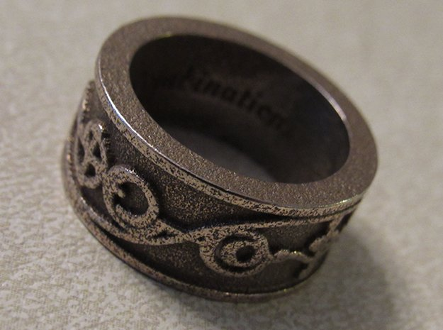 """""""IDIC"""" Vulcan Script Ring - Embossed Style in Polished Bronzed Silver Steel: 8 / 56.75"""