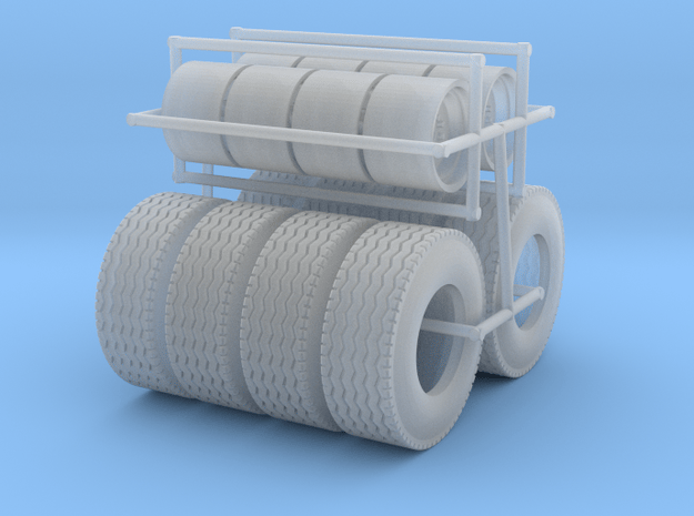 1/64  Floater Wheels and Tires (4 Sets) in Smooth Fine Detail Plastic