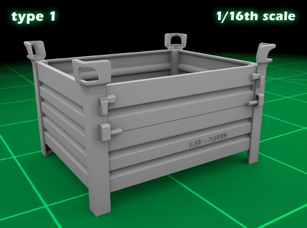 Stackable container type-1 (1x - 1/16) in Smooth Fine Detail Plastic