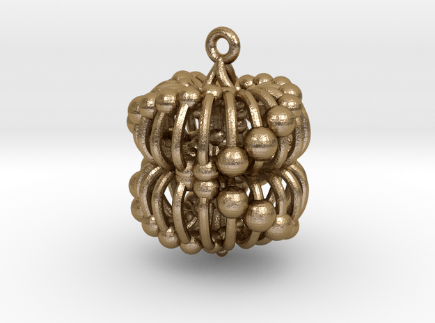 Double Torus Electromagnetic Field 35mm pendant in Polished Gold Steel