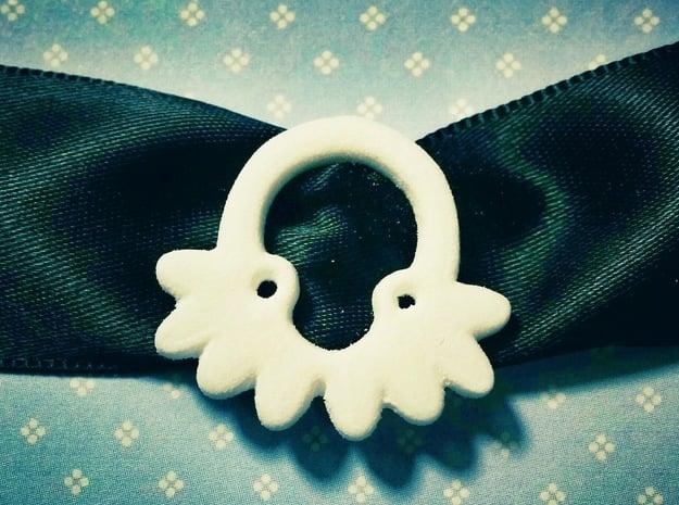 Octopus Ribbon Charm in White Natural Versatile Plastic