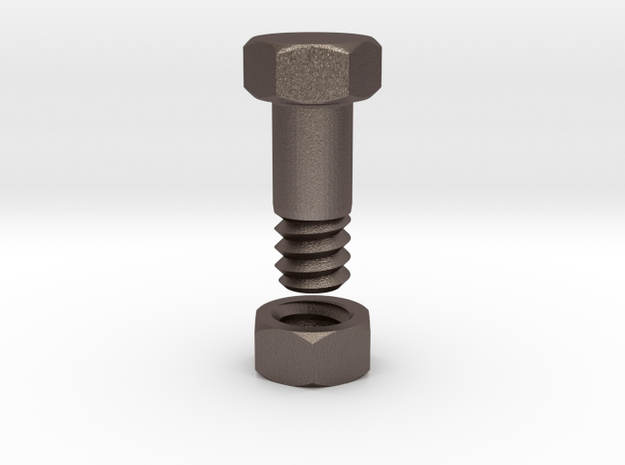 Flesh Tunnel Bolt with nut - 4mm in Polished Bronzed Silver Steel