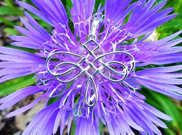 Dragonfly Celtic Knot Pendant in Rhodium Plated Brass