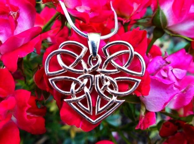 Heart Celtic Knot Pendant in 14k Rose Gold Plated Brass