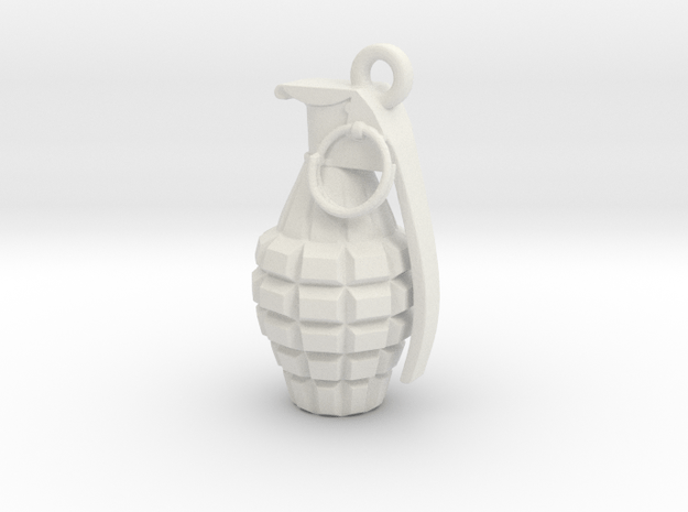 Grenade pendant in White Natural Versatile Plastic