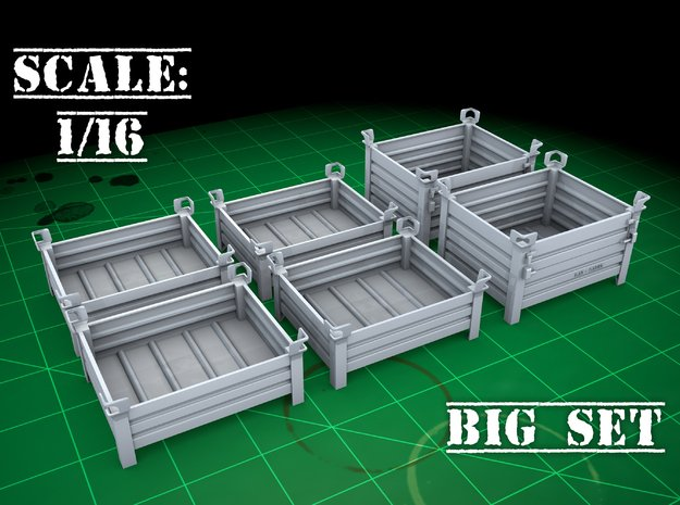 Stackable container (type 1&3 (big set) 1/16) in Smooth Fine Detail Plastic