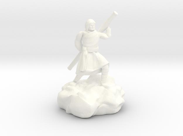 Hooded Halfling Ninja With Staff in White Processed Versatile Plastic