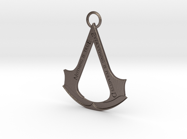 Assassin's creed logo-bottle opener (with ring) in Polished Bronzed Silver Steel