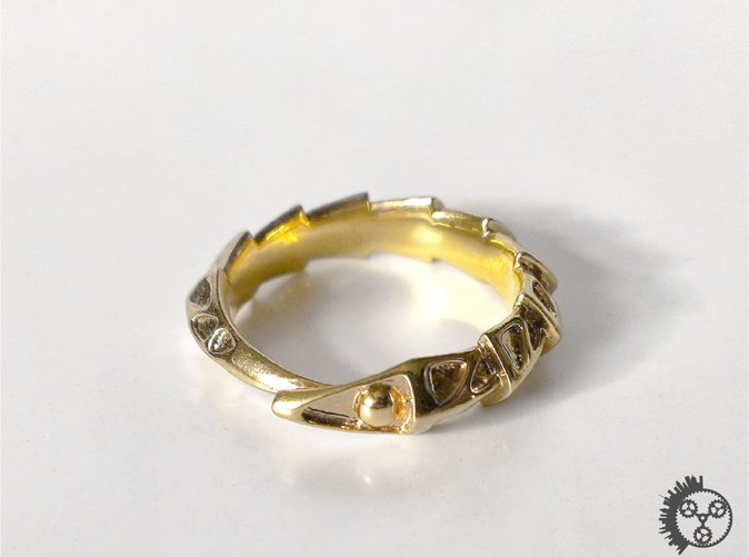 Carapace Ring - Polished Brass Front