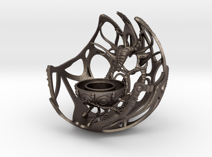 Future Artefact 004- 3D printed candle holder- steel- Render- Kai Braacher
