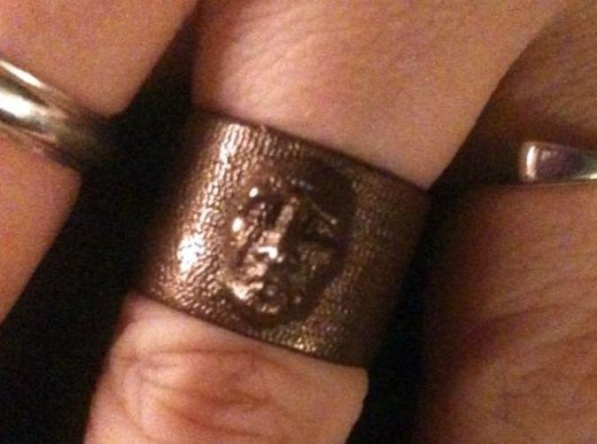 Here is the creepy face ring in glossy bronze. It came out even better than I expected. Lots of detail.