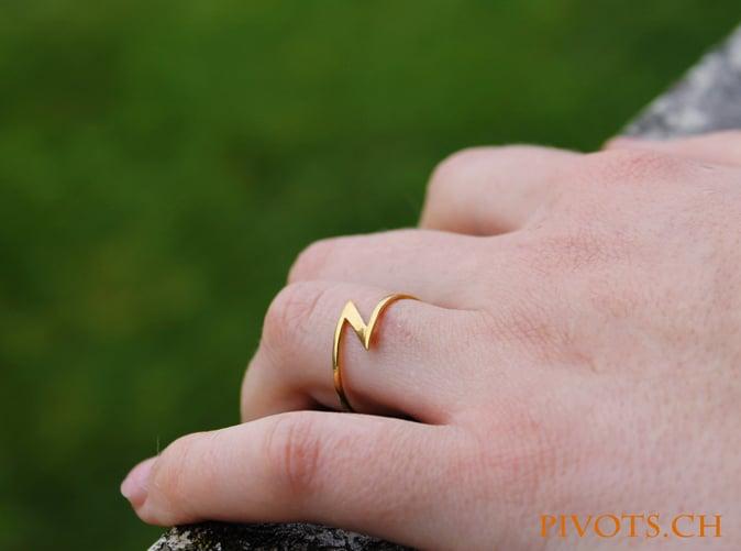 Model wearing the lighning ring