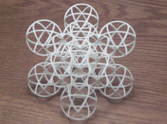 14 packed spheres in a cube shown in white strong and flexible plastic