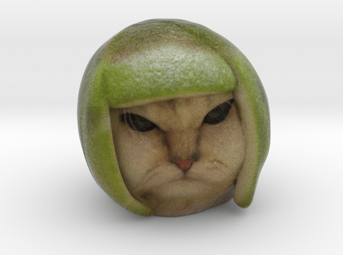 Lime cat statue