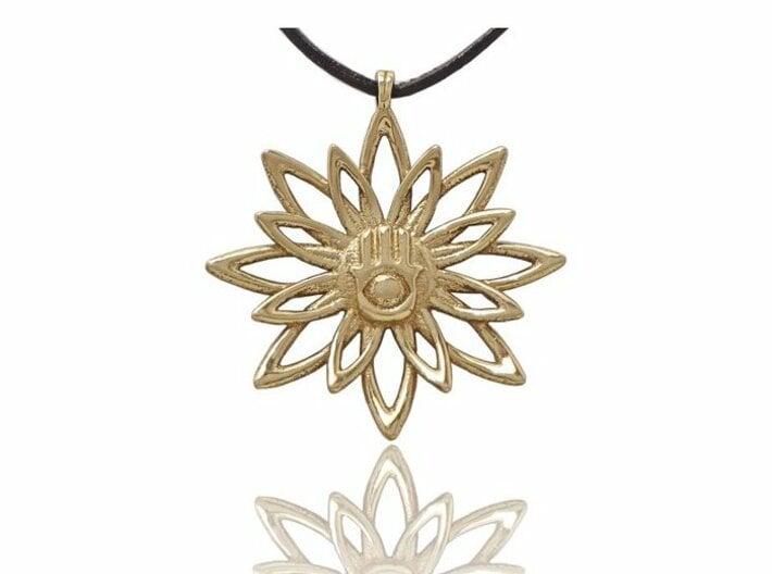 Blooming Hamsa Hand Flower Jewelry Pendant 3d printed