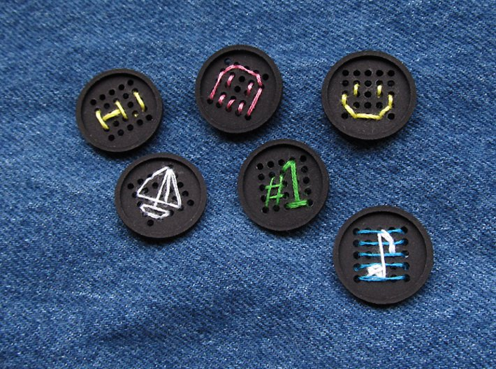 """1"""" embroidery buttons (dozen) 3d printed"""