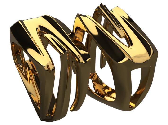 Alien (Size 12) 3d printed Polished brass