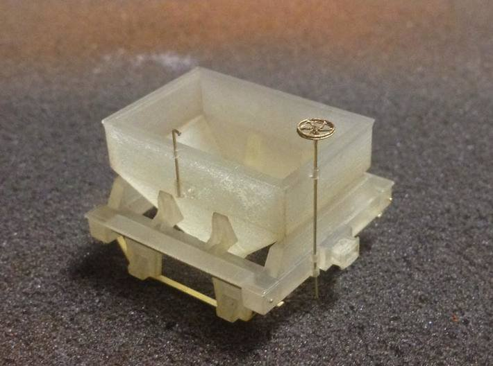 Virginia & Truckee Built Ore Car (HO Scale) 3d printed 5. Glue the ore bin to the frame and ad the brake wheel. Paint and add Kadee wheel sets.