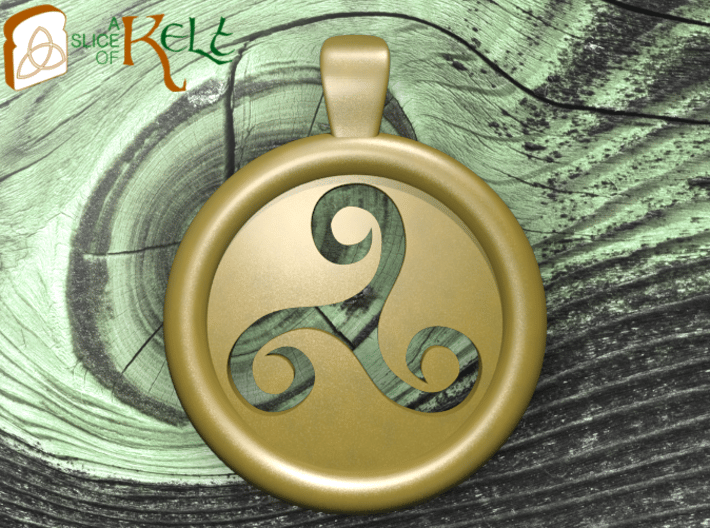 Triskell Hole Round Pendant 3d printed The model