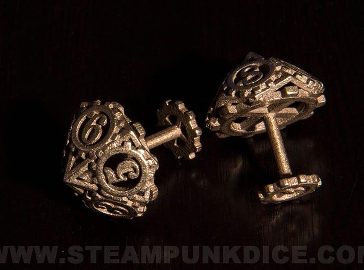 Steampunk Gear Cufflinks 3d printed Stainless Steel