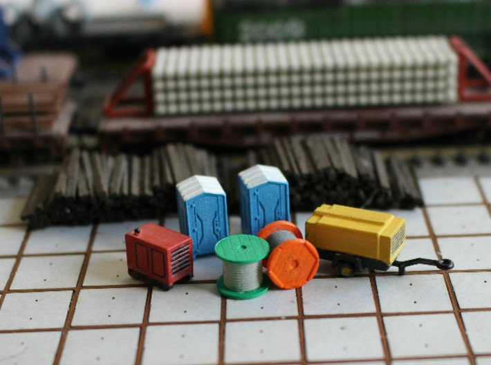 N Scale Construction Site Set 3d printed