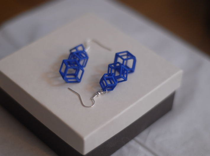 rhombic dodecahedron earrings 3d printed