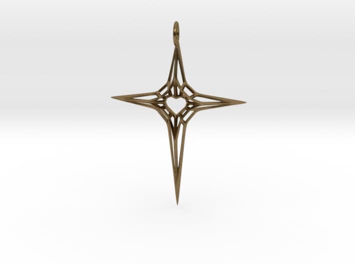 Skeleton Heart Cross Pendant (XL, large size) 3d printed