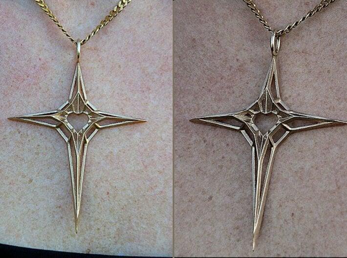 Skeleton Heart Cross Pendant (XL, large size) 3d printed Skeleton Heart Cross Pendant (XL, bronze)
