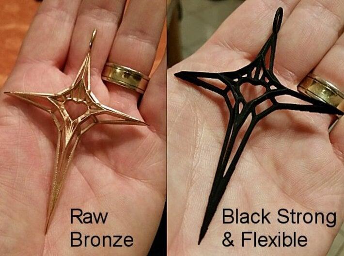 Skeleton Heart Cross Pendant (XL, large size) 3d printed Skeleton Heart Cross Pendant (XL, bronze, strong black&flexible)