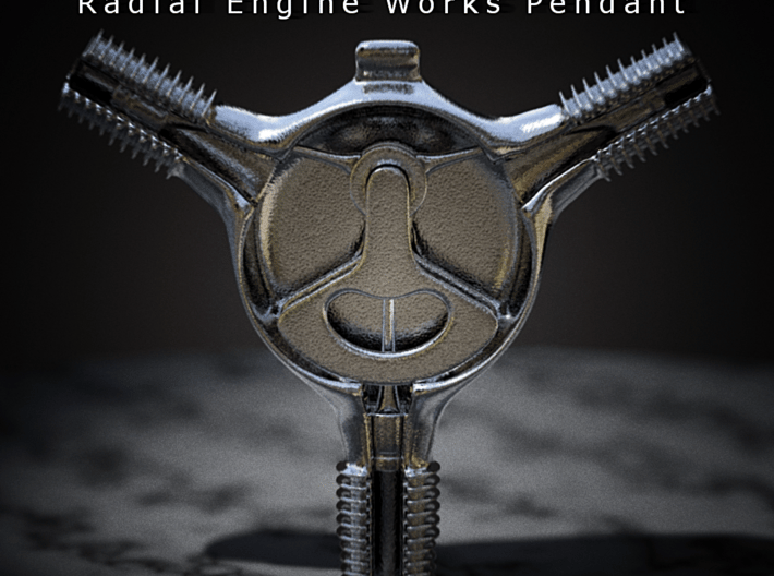 Radial Engine Works Pendant 3d printed