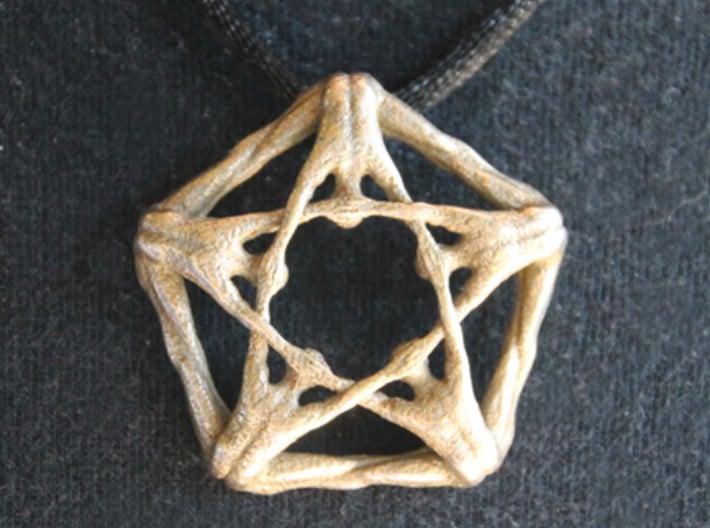 Pentaman pendant - Naked Geometry 3d printed Pentaman pendant, front