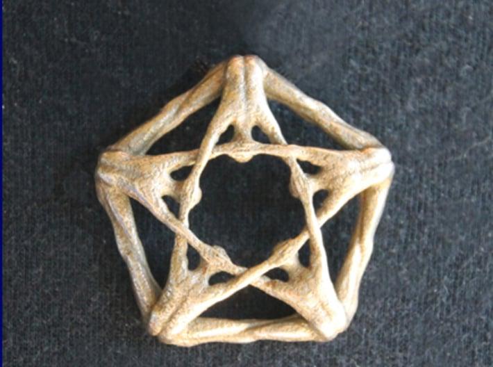 Pentaman ingot - Naked Geometry 3d printed Pentaman pendant front