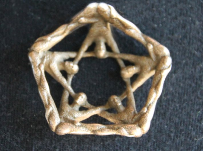 Pentaman ingot - Naked Geometry 3d printed Pentaman pendant back