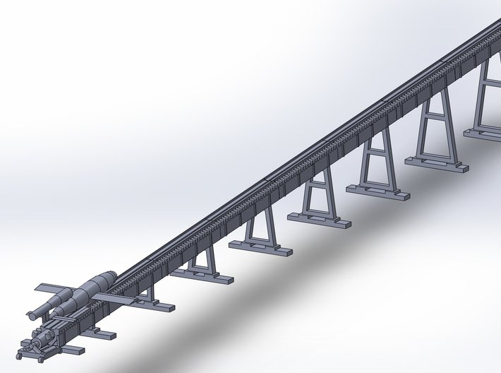 V1 Rocket w. Stamcatapult Z-Scale 1/220 3d printed