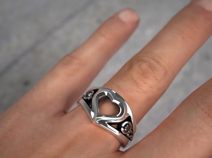 Heart Ring(Inner diameter of ring 16mm) 3d printed