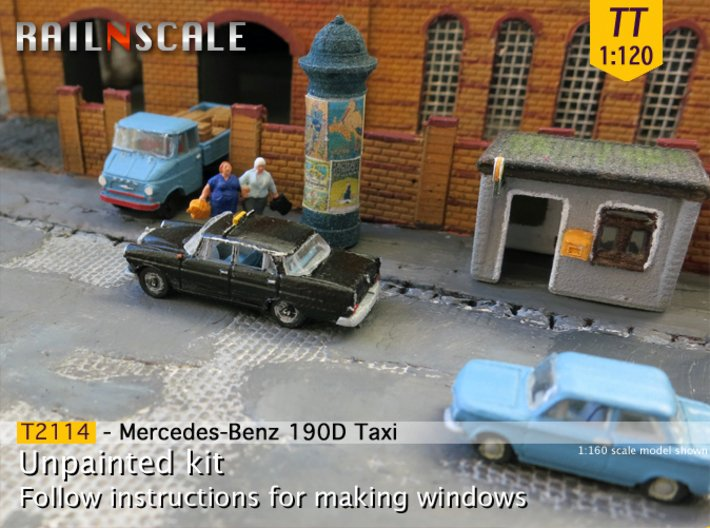 Mercedes-Benz 190D Taxi (TT 1:120) 3d printed