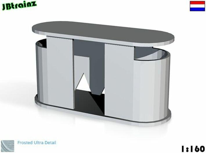 5 Concrete public toilets (1:160) 3d printed