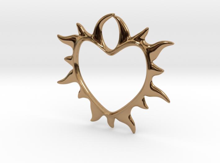 Eternal love 3d printed heart in flames - brass