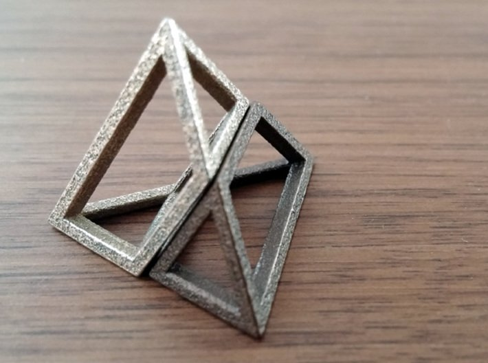 Material Sample - 'Impossible' Pyramid Puzzle Piec 3d printed Here's the solution. The 2 pieces form a tetrahedron (triangular pyramid)