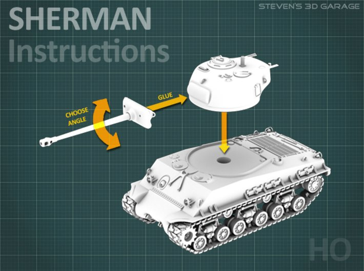Sherman M4A3E8 Tank - (1:87 HO) 3d printed