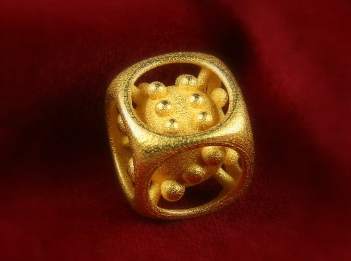 """Dice No.1 S (balanced) (1.9cm/0.75in) 3d printed Polished Gold Steel (""""Little Polished Golden Cutie"""")"""