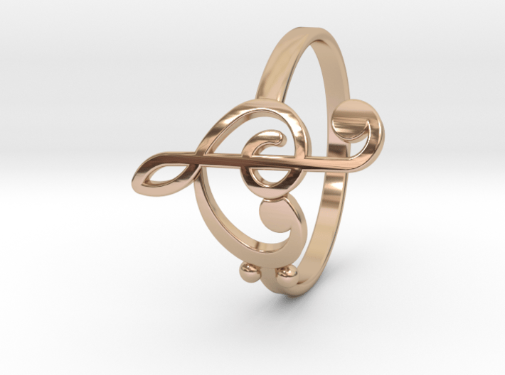 Size 8 Clefs Ring 3d printed