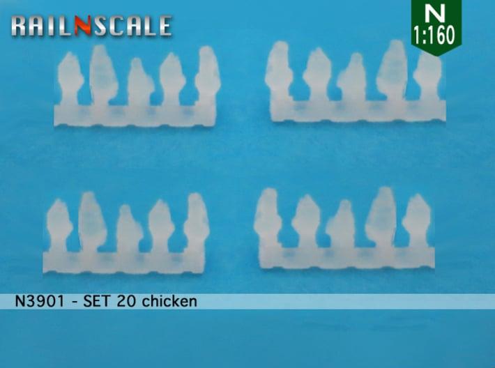 SET 20 chickens (N 1:160) 3d printed