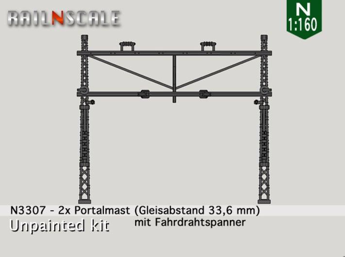 2x Portalmast mit Spanner (Oberleitung N 1:160) 3d printed