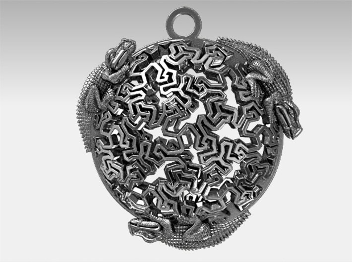 Reptiles Pendant, 1.25 inch. 3d printed My raw silver render.